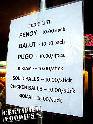 Egg Station Price list - tokneneng is itlog ng pugo, penoy, balut, etc. - CertifiedFoodies.com