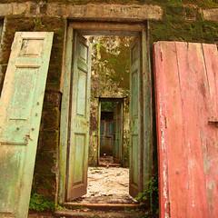 Door in Door in Door in Doooooooor (Ahmad Al Zarouni) Tags: park door old pink india house green broken doors national bombay ghandi   mombay       oprn       rajeef