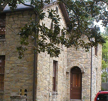 historic district stone house in downtown Raleigh built and restored using Wake County building stone from side