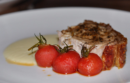 Organic Pork with sweet vinegar tomatoes, fennel seed and soubise