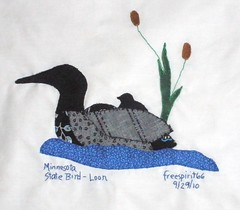 SEWvenir Quilt Block - Loon (Pictures by Ann) Tags: blue baby brown white lake black green bird nature water minnesota swimming swim mom back hand quilt state embroidery wildlife mother souvenir cattails cotton swap blanket quilting stitching block applique stitched embroidered loon byhand swapbot sewvenir