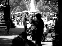 Saturday in the Park (jleathers) Tags: park nyc newyork fountain trumpet parkbench unionsquare