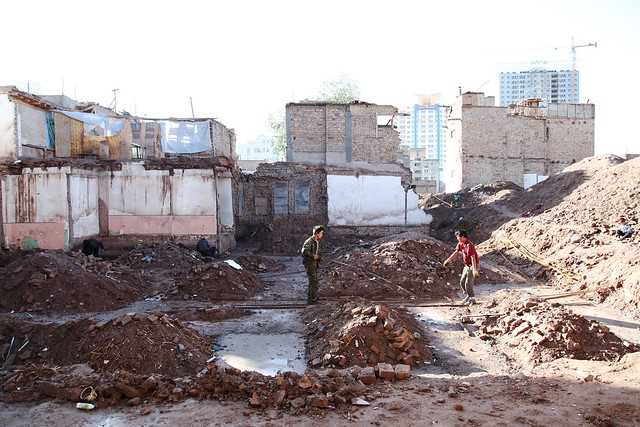 取り壊しの進むカシュガル旧市街