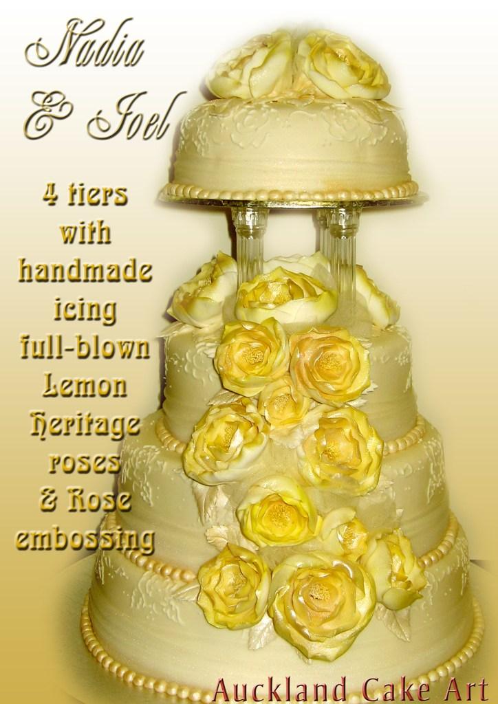 ENGLISH ROSE GOLD & IVORY WEDDING CAKE