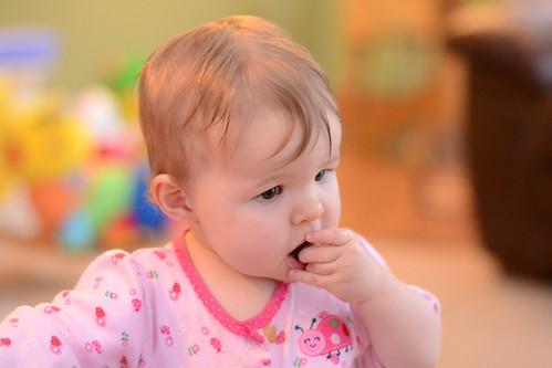 Ella pausing - Nikon D3100 - ISO 3200 - flash