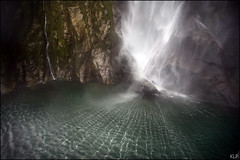 Stirling Falls (katepedley) Tags: ocean new newzealand wet water rock canon coast boat waterfall nationalpark interestingness pattern stirling web falls spray explore zealand fieldtrip nz sound southisland 5d fjord ripples milford geology westcoast fiord 1740mm southland fiordland polariser piopiotahi