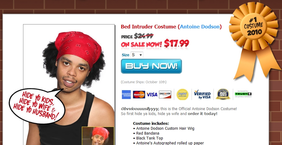 WTF! Antoine Dodson 'Bed Intruder' 2010 Halloween Costume Available!