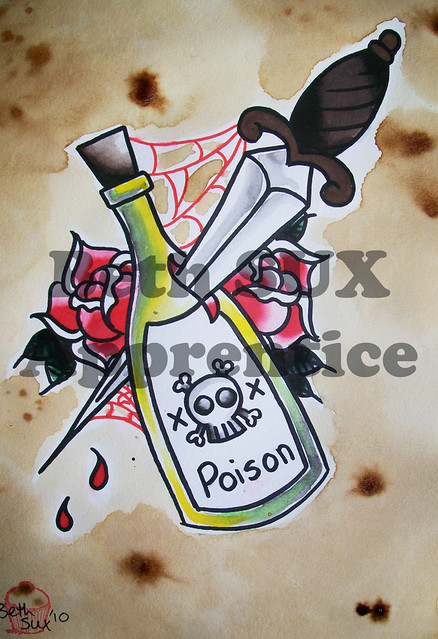 poison bottle, dagger tattoo flash | Flickr - Photo Sharing!