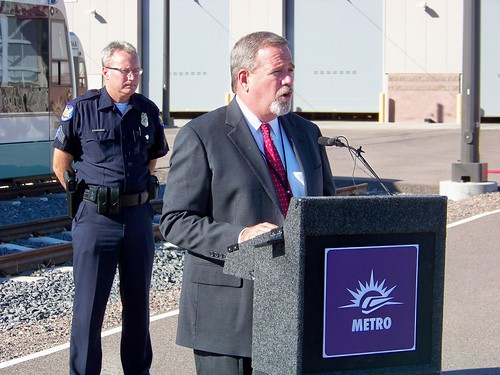 Steve Banta announcing METRO light rail safety campaign
