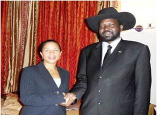 South Sudan President Salva Kiir with Susan Rice, the United States Ambassador to the United Nations. The state of Sudan is threatened with a partition when the South will hold a referendum on its future in January 2011. by Pan-African News Wire File Photos