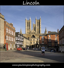 Bailgate, Lincoln (Paul Simpson Photography) Tags: uk england people church car shopping pub cathedral religion bluesky lincolnshire lincoln gb phonebox magnacarta lincolncathedral cobbledstreet religiousbuilding paulsimpsonphotography