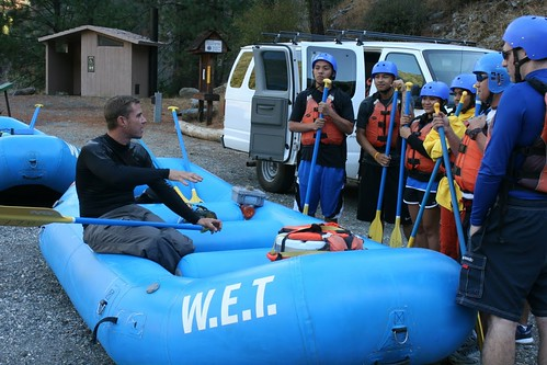white water safety talk for wet guests on middle fork