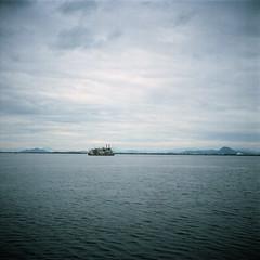 Biwako #2 (yocca) Tags: sky lake film clouds ship kodak portra 2010 biwalake biwako 160nc  yashicaflax sep2010