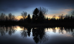 Sunset at Bower Ponds (Matthew P Sharp) Tags: park autumn trees sunset canada colour reflection fall water canon alberta 7d hdr reddeer