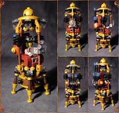 Cronoscaphe - views (captainsmog) Tags: travel hat rivets lego time seat goggles machine gear device copper contraption custom steampunk bending hgwells moc