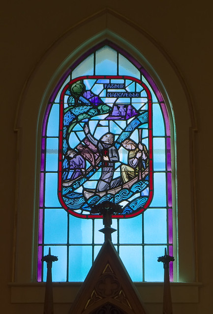 Saint Patrick Roman Catholic Church, in Grafton, Illinois, USA - stained glass window of Father Marquette