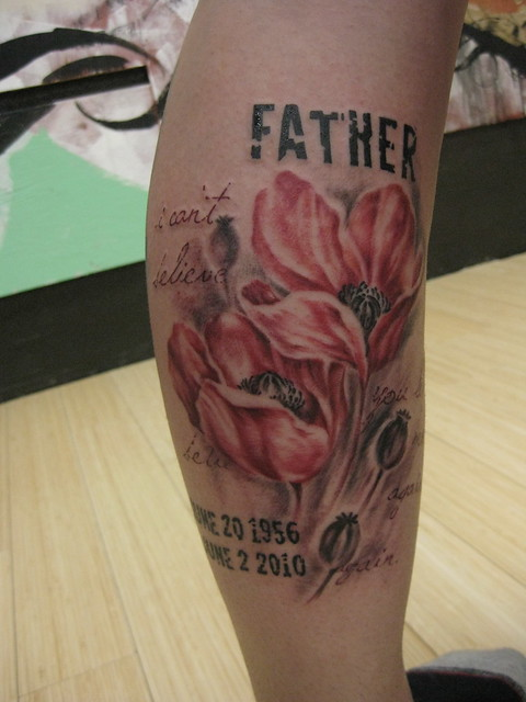 Memorial Father tattoo. Custom tattoo by Kai Smart