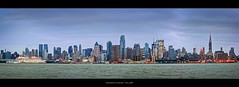 Manhattan Skyline (Sebastian (sibbiblue)) Tags: camera new morning panorama usa newyork color green water skyline harbor nikon cruiseship jersey photomerge empirestatebuilding hudson chryslerbuilding stich weehawken stiching nikond40