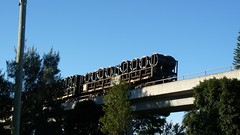 steel freight passing over 6 (sth475) Tags: railroad bridge blue winter sky train wagon wire steel railway australia viaduct nsw grafton endoftrain northcoast rollingstock eot freightcar southgrafton rcwfclass quicktriptoseqld