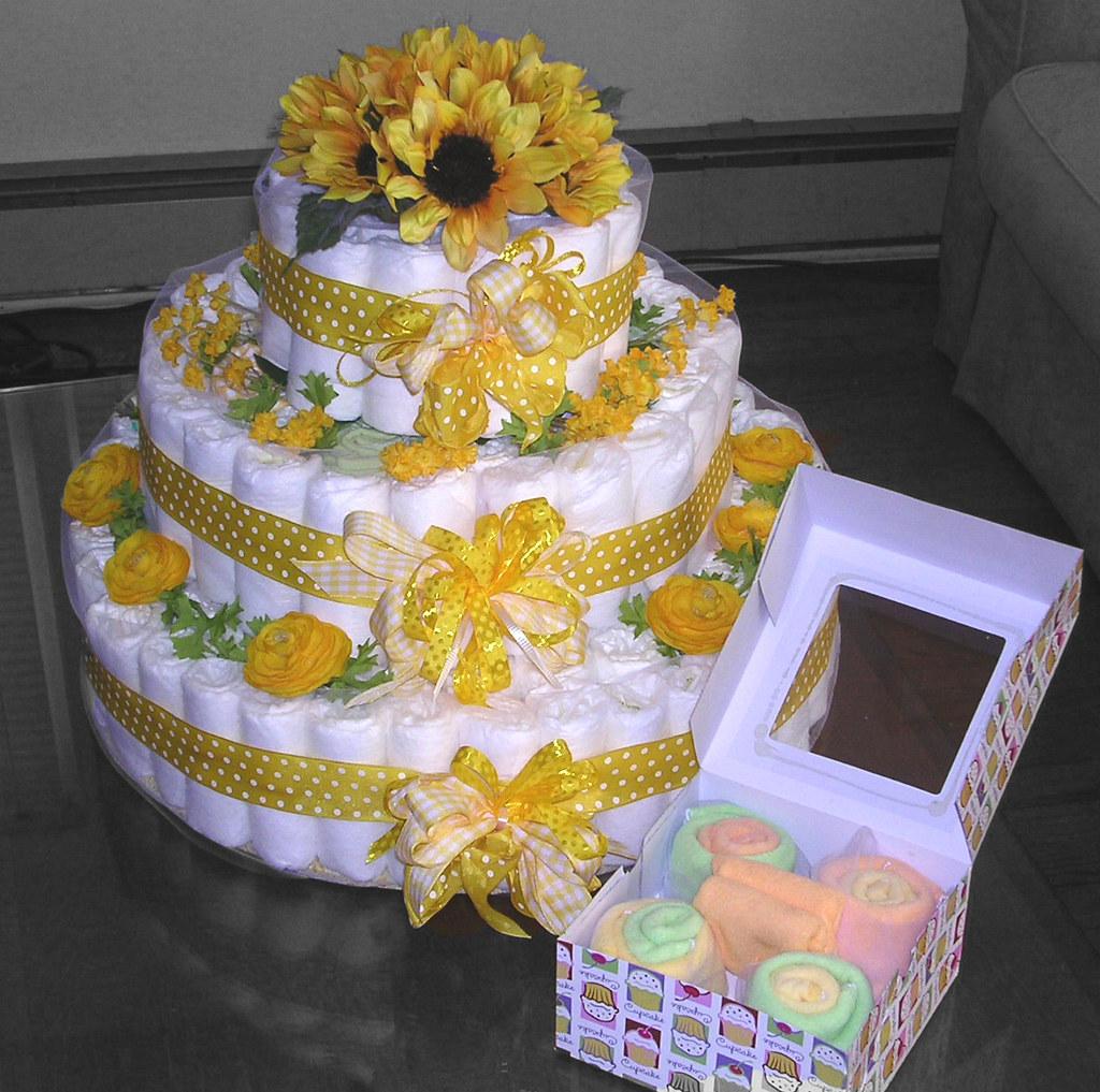 """Diaper """"Cake"""" Shower Centerpiece"""