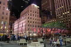 Rockefeller Center (makeawish2468) Tags: street newyorkcity light newyork night rockefellercenter flags 30rock
