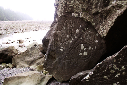 Petroglyphs on the beach
