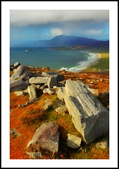 Autumn Day 2 (Oceanraider........ On & Off for summer :)) Tags: autumn ireland mountain seascape storm weather landscape island scenery rocks seasons hill scenic atlantic boulders mayo picturesque fell achill cottages keel keelbeach autumncolour croaghaun trawmorestrand