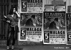 Affiches II (Frank Ramos) Tags: people bw brown blanco girl spain chica gente negro cine victoria andalucia bn posters astoria carteles malaga paredes morena muros affiches