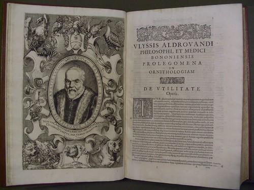 Vlyssis Aldrovandi ... Ornithologiae, hoc est de avibvs historiae, libri XII ... Portrait of Aldrovandi