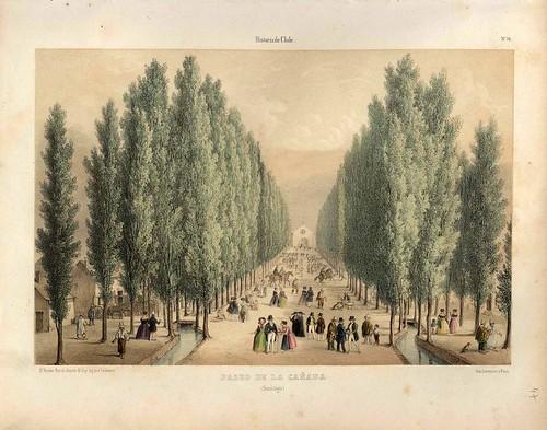 016-Paseo de la Cañada en Santiago-Atlas de la historia física y política de Chile-1854-Claudio Gay