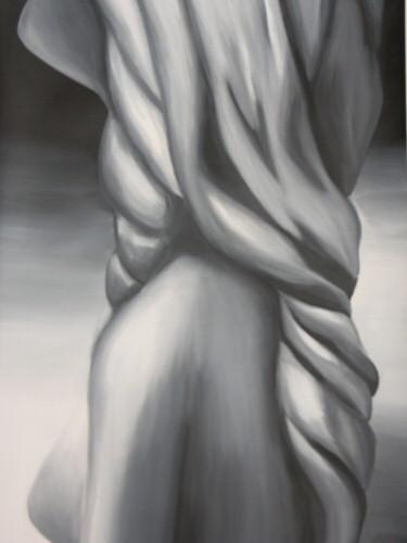 Peinture à l'huile sur papier toilé de dimension 42x59 cm représentant en noir et blanc un torse de femme avec des cheveux en torsade vu de profil – Sandrine Vallée
