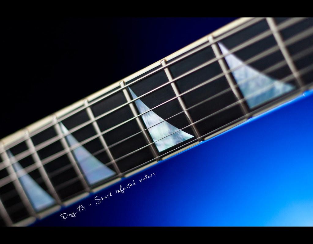 Day 93, 093/365, Bokeh, Project 365, Strobist, project365, six, Sharkfin Inlay, Jackson Rhoads, Jackson Guitars, Frets, Ebony Fretboard, six, ourdailychallenge, blue background, CTB,