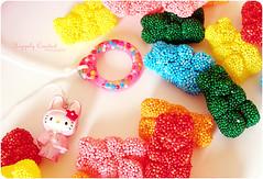 Candy + Pink + Hello Kitty (Happily Candied) Tags: pink cute love rainbow pretty candy sweet hellokitty bears kawaii custom pullring mlc pullcharm mylittlecandy pinkachu