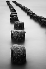 Shore Posts (mibreit) Tags: summer blackandwhite water wasser sommer smooth posts rgen glowe ndx400