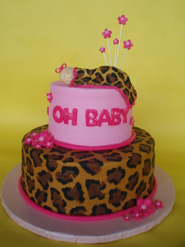 Pink and Leopard Baby Shower Cake
