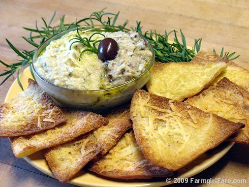 White Bean Artichoke Dip with Rosemary, Romano, and Kalamata Olives
