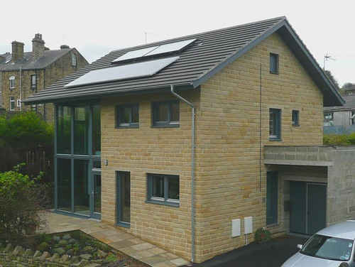 generous overhangs on the roof of the Denby Dale Passivhaus