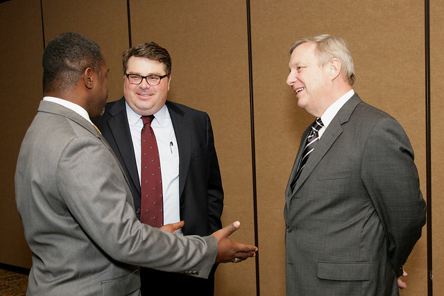 Senator Durbin, Chairman Logsdon and a Supporter