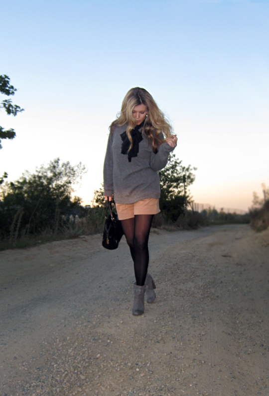dressed up shorts+shorts with tights+sweater and boots+sunset in L.A.+long blonde waved hair+dirt road+rocky road