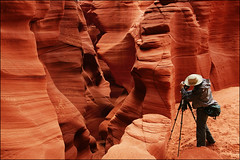 antelope canyon clone - page arizona (Dan Anderson (dead camera, RIP)) Tags: red arizona southwest west art sandstone rocks artist photographer desert tripod az canyon american page antelope geology navajo slot atwork slotcanyon antelopecanyon shoottheshooter canyonx