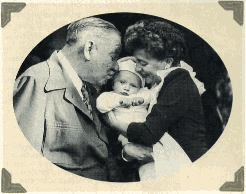 Image of W.C. Fields with his first grandchild and our mother