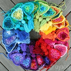 crochet colour wheel (rettgrayson) Tags: wheel rainbow spectrum crochet garland squaredcircle granny bunting colourfulcolour