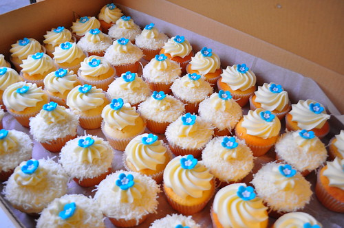 Turquoise and white wedding cupcakes