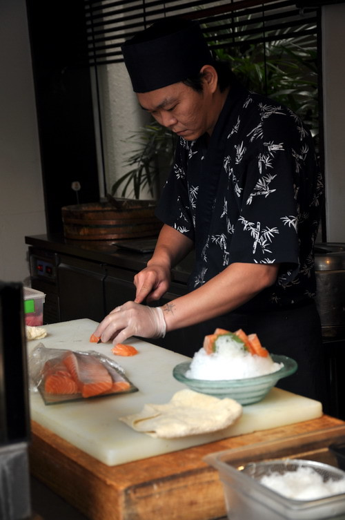 Chef preparing Sashimi