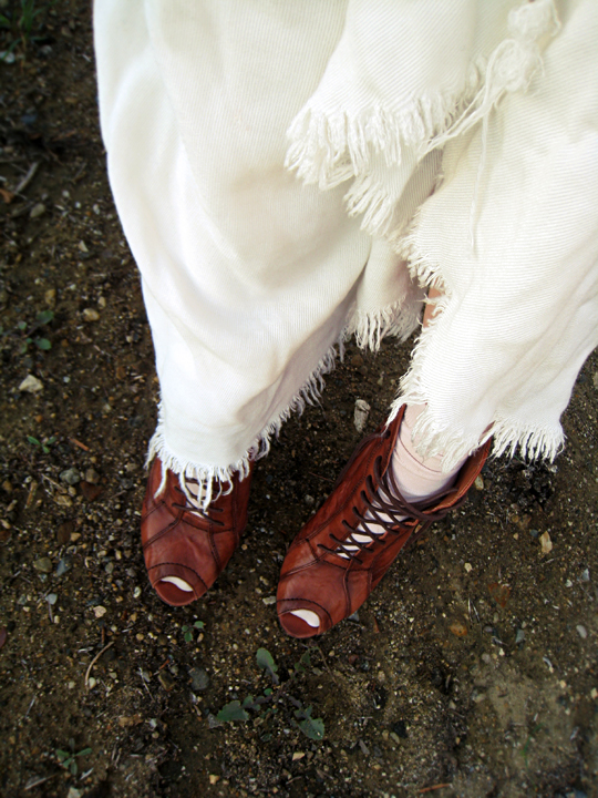 open toe lace up boots with socks and long skirt+tones
