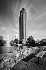 pencil (wecand) Tags: city longexposure sky lake tower fountain clouds germany deutschland see frankfurt springbrunnen himmel wolken bank fair center exhibition nd turm messe bleistift messeturm langzeitbelichtung sitzbank banch lzb graufilter wecand gettyimagesgermanyq1
