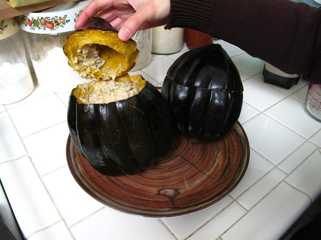 Stuffed acorn squash for Thanksgiving.