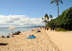 Walking on Waikiki Beach