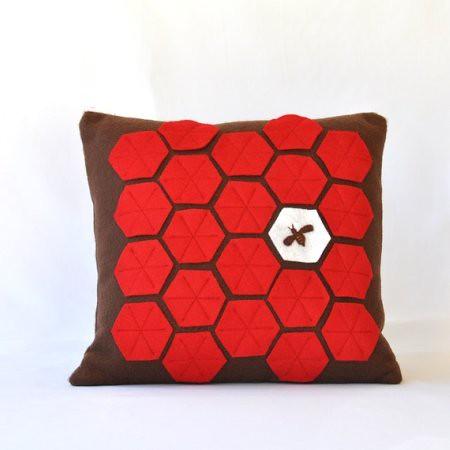 Bee in Honeycomb Felt Pillow