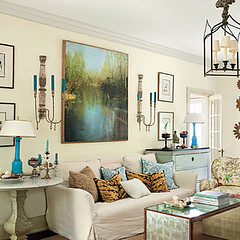 charlottesville-living-room-southern-living (mscott218) Tags: blue art lamp mirror design interiors gallery turquoise interior tiger livingroom chandelier sunburst walls interiordesign tablescape slipcover sconces